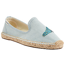 Buy Soludos Peacock Embroidered Smoking Espadrilles, Chambray Online at johnlewis.com