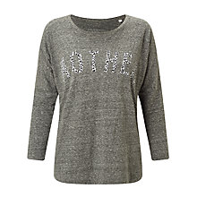 Buy Selfish Mother Mother Slub 3/4 Length Sleeve T-Shirt, Charcoal/Leopard Online at johnlewis.com
