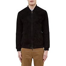 Buy Ted Baker Hifi Goatskin Bomber Jacket, Black Online at johnlewis.com