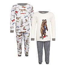 Buy John Lewis Children's Skateboard Animals Print Pyjamas, Pack of 2 Online at johnlewis.com