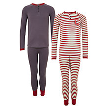 Buy John Lewis Children's Striped Pyjamas, Pack of 2, Grey/Red Online at johnlewis.com