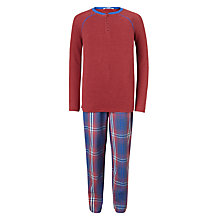 Buy John Lewis Children's Check Print Pyjamas, Burgundy/Blue Online at johnlewis.com