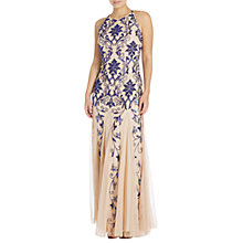 Buy Adrianna Papell Embellished Halterneck Gown, Champagne/Royal Blue Online at johnlewis.com