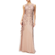 Buy Adrianna Papell Beaded Gown With Intricate Embroidery, Rose Gold Online at johnlewis.com