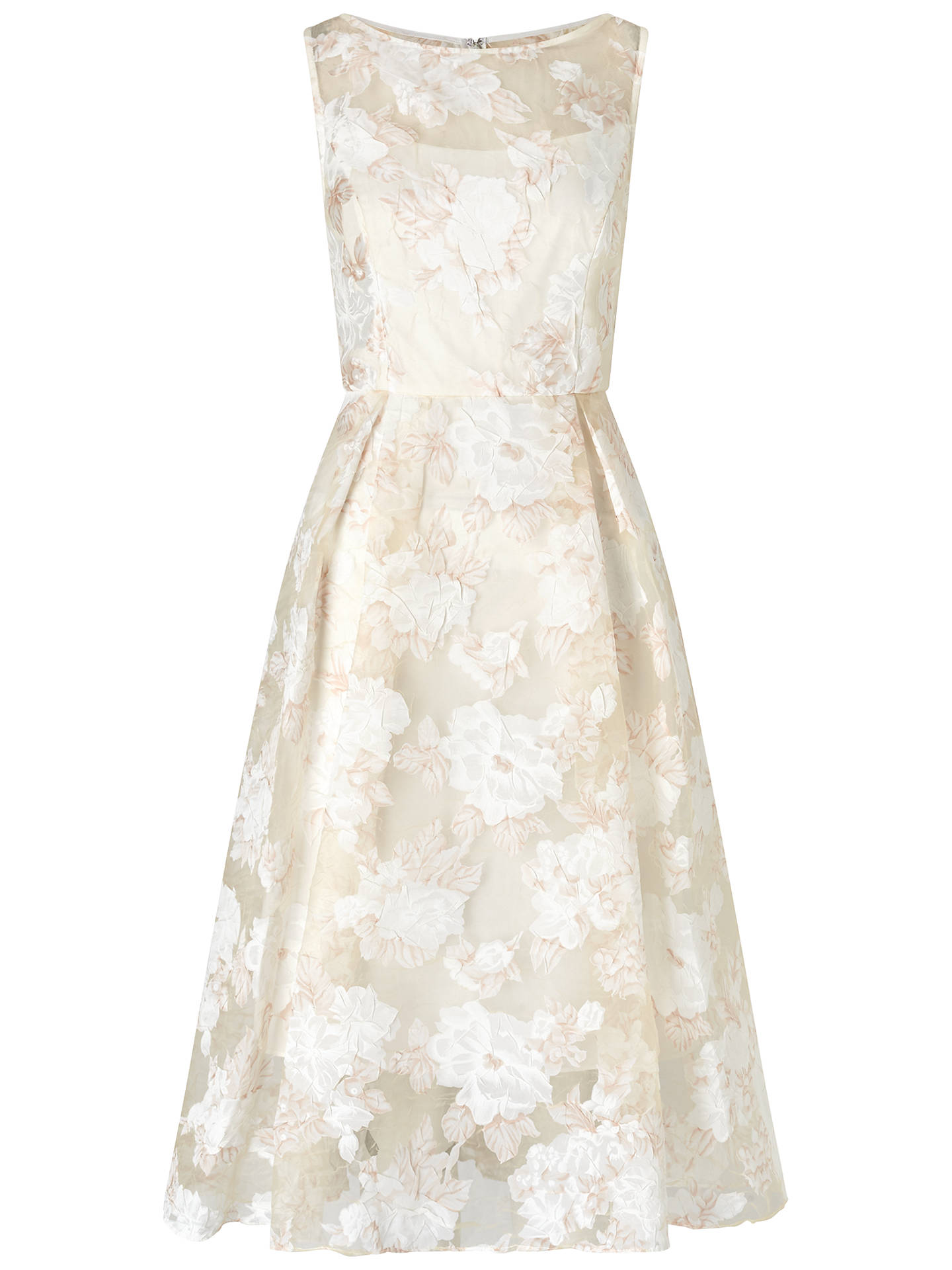 BuyAdrianna Papell Printed Organza Midi Dress, Peach/Ivory, 8 Online at johnlewis.com