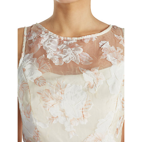 Buy Adrianna Papell Printed Organza Midi Dress, Peach/Ivory Online at johnlewis.com