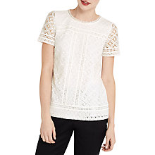 Buy Oasis Isla Lace T-Shirt, Off White Online at johnlewis.com