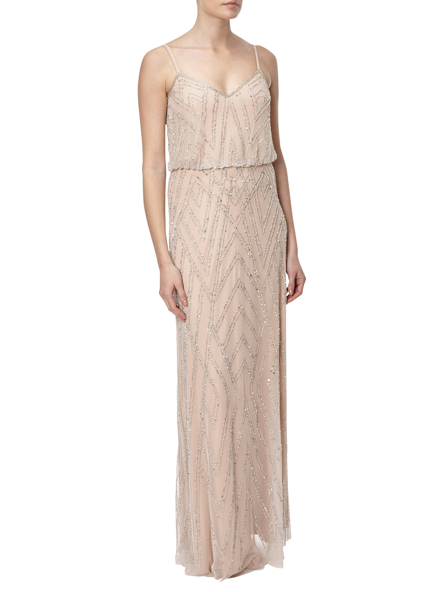 Adrianna Papell Sleeveless Blouson Gown, Silver/Nude at John Lewis ...