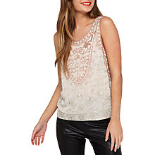 Buy Miss Selfridge Embellished Shell Top, Rose Gold Online at johnlewis.com