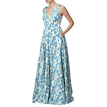 Buy Adrianna Papell Floral V-Neck Ball Gown, Aqua/Multi Online at johnlewis.com