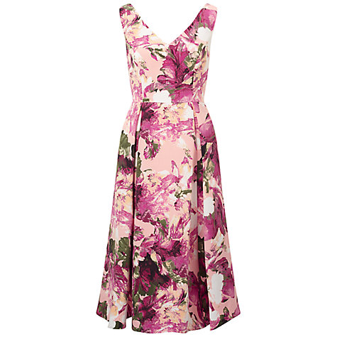 Buy Adrianna Papell Floral Print Fit And Flare Dress, Apricot Cream/Multi Online at johnlewis.com