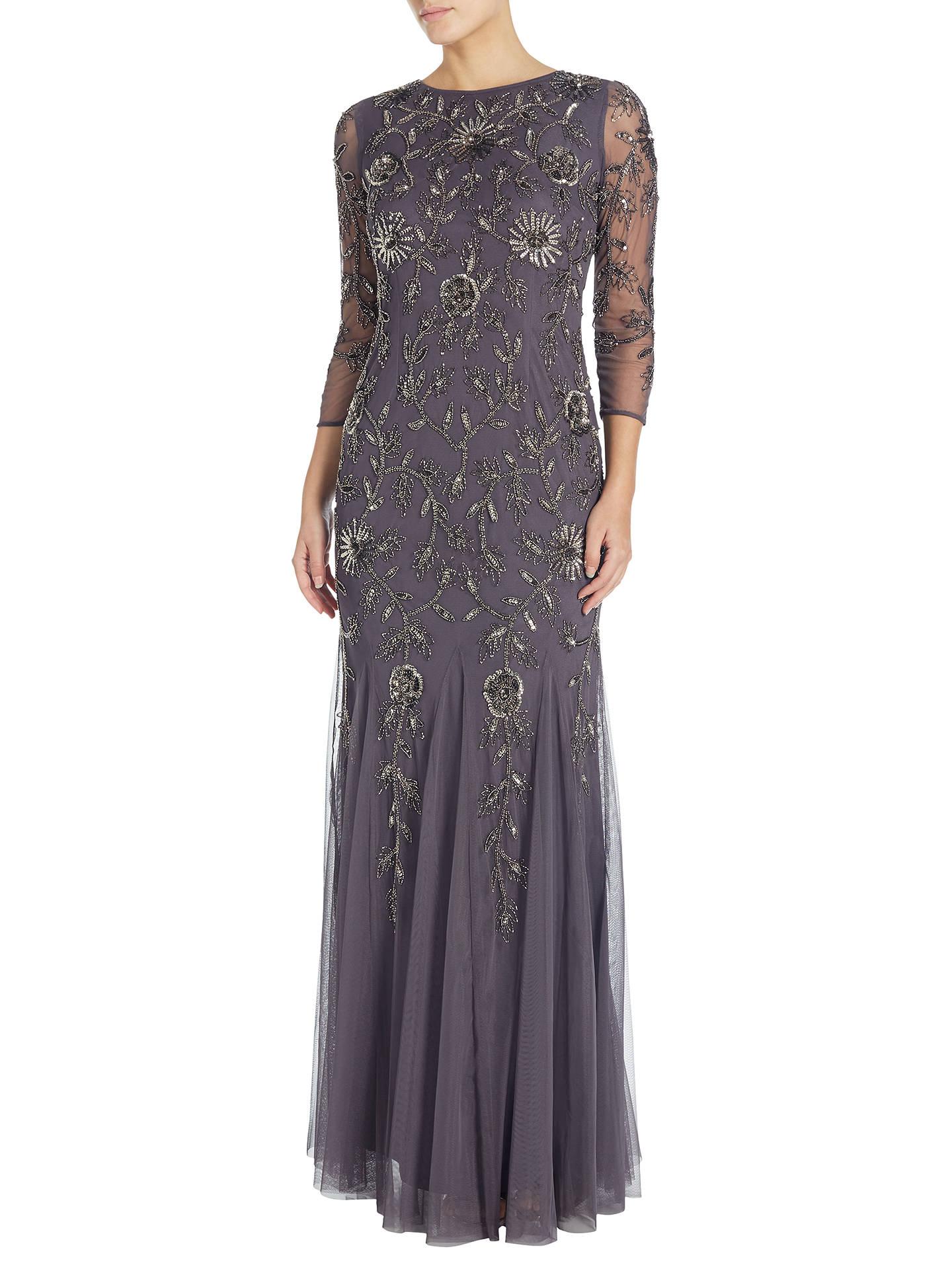 Adrianna Papell Beaded Mermaid Gown, Gunmetal at John Lewis & Partners