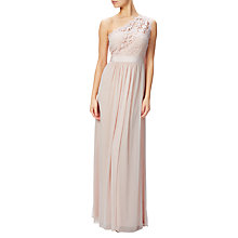 Buy Adrianna Papell One Shoulder Lace Stretch Tulle Gown, Blush Online at johnlewis.com