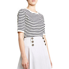 Buy Winser London Cotton Jersey Striped T-Shirt, Ivory/Midnight Navy Online at johnlewis.com