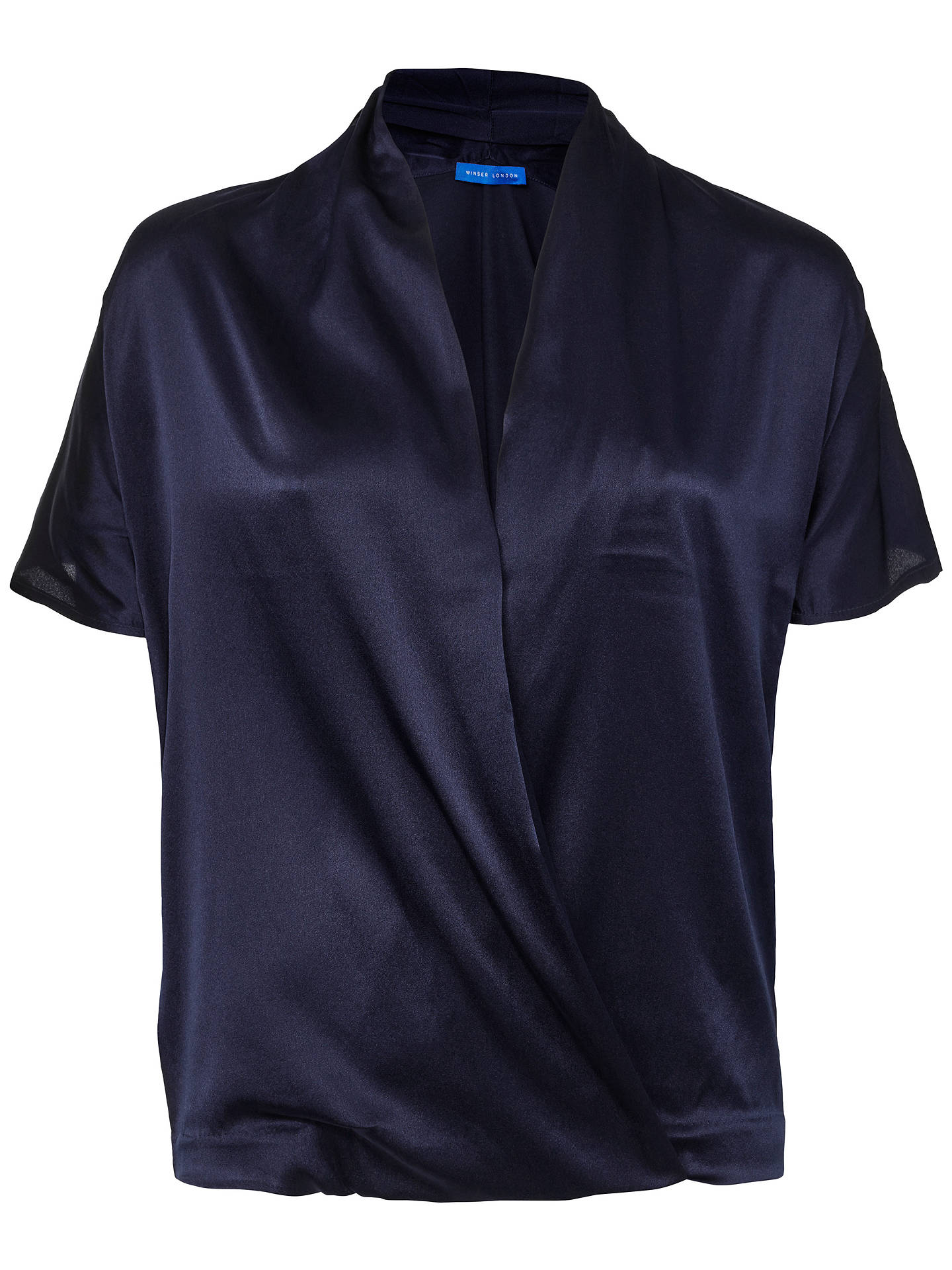 BuyWinser London Silk And Jersey Short Sleeve Wrap Top, Midnight Navy, XS Online at johnlewis.com