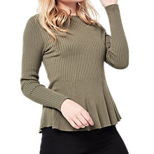 Buy Miss Selfridge Petite Peplum Top, Khaki Online at johnlewis.com
