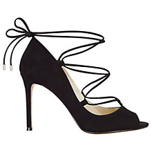 Buy Karen Millen Ghillie Peep Toe Stiletto Sandals, Black Online at johnlewis.com
