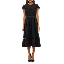 Buy Ted Baker Frizay Lace Bodice Full Midi Dress, Black Online at johnlewis.com