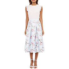 Buy Ted Baker Pallye Oriental Blossom Midi A-Line Skirt, Light Grey/Multi Online at johnlewis.com