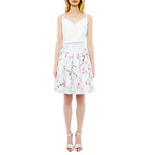 Buy Ted Baker Tillye Oriental Blossom Pleated Skirt, Light Grey Online at johnlewis.com