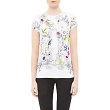 Buy Ted Baker Hazelto Passion Flower Fitted T-Shirt, Ivory Online at johnlewis.com