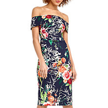 Buy Oasis Midnight Citrus Bardot Dress, Blue/Multi Online at johnlewis.com