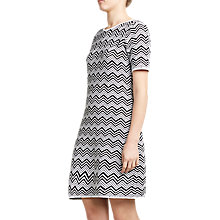 Buy Winser London Cotton Chevron Dress, Black Online at johnlewis.com