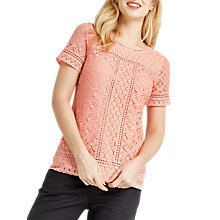 Buy Oasis Isla Lace T-Shirt, Coral Online at johnlewis.com