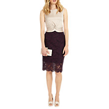 Buy Phase Eight Coralie Lace Dress, Champagne/Dark Garnet Online at johnlewis.com