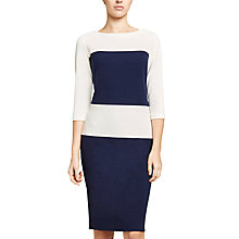 Buy Winser London Crepe Jersey Colour Block Shift Dress, Light Midnight/Ivory Online at johnlewis.com