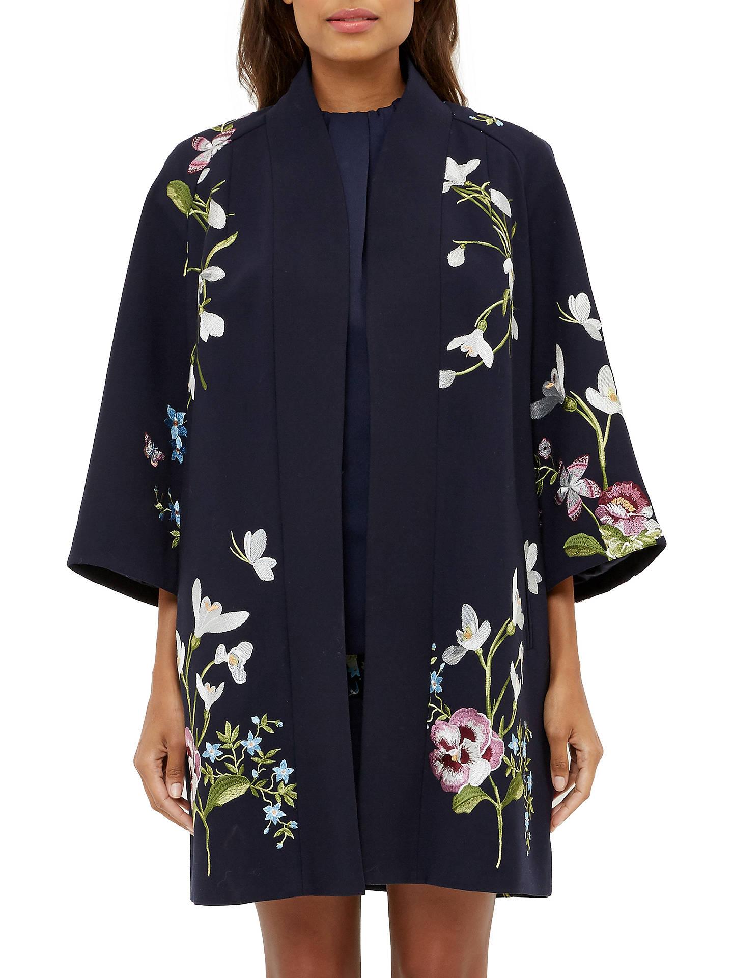 8cd3a6062 Ted Baker Denuka Spring Meadow Kimono Jacket, Dark Blue at John ...