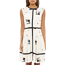 Buy Ted Baker Iivy Contrast Rose Pleated Dress, Ivory Online at johnlewis.com