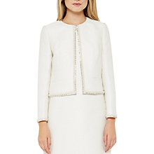 Buy Ted Baker Yulisa Embellished Cropped Metallic Boucle Jacket, Ivory Online at johnlewis.com
