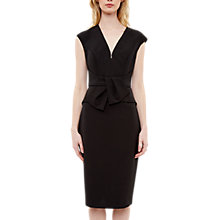 Buy Ted Baker Peplum Tie Fitted Dress, Black Online at johnlewis.com