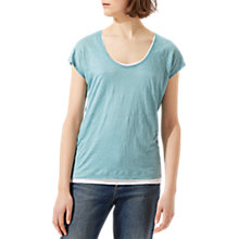 Buy Jigsaw Double Layer Linen T-Shirt, Blue Lagoon Online at johnlewis.com
