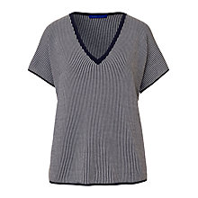 Buy Winser London Cotton V-Neck Coco Top, Midnight/Soft White Online at johnlewis.com