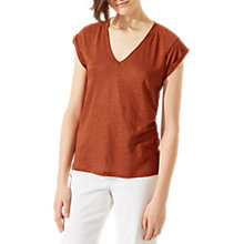 Buy Jigsaw Linen Roll-Sleeve T-Shirt Online at johnlewis.com