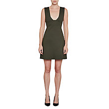 Buy French Connection Litski Ottoman Jersey Sleeveless Dress, Woodland Green Online at johnlewis.com