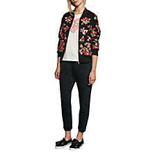 Buy French Connection Gilliam Stitch Embroidered Bomber Jacket, Black/Multi Online at johnlewis.com