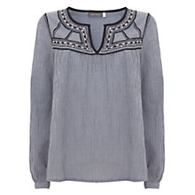 Buy Mint Velvet Stitch Detail Smock Top, Stripe Online at johnlewis.com