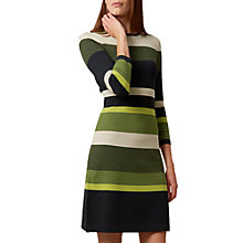 Buy Hobbs Fern Stripe Dress, Khaki/Multi Online at johnlewis.com