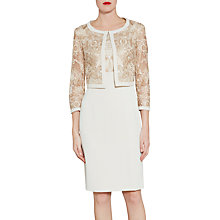Buy Gina Bacconi Crepe And Floral Embroidered Mesh Jacket, Butter Cream Online at johnlewis.com