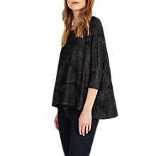 Buy Phase Eight Fran Feather Burnout Top, Black Online at johnlewis.com