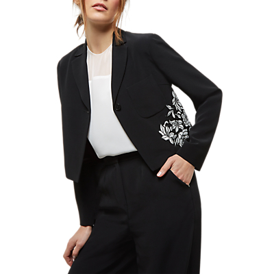 Jaeger Lace Panelled Jacket, Black