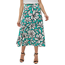 Buy Jaeger Floral Print A-Line Skirt, Green Online at johnlewis.com