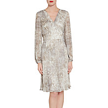 Buy Gina Bacconi Baroque Metallic Stripe Chiffon Dress, Grey Online at johnlewis.com
