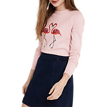 Buy Oasis Flamingo Intarsia Jumper, Pale Pink Online at johnlewis.com