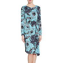 Buy Gina Bacconi Watercolour Floral Print Jersey Dress, Turquoise/Grey Online at johnlewis.com