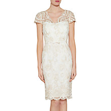 Buy Gina Bacconi Crepe And Metallic Embroidered Dress, Light Gold Online at johnlewis.com