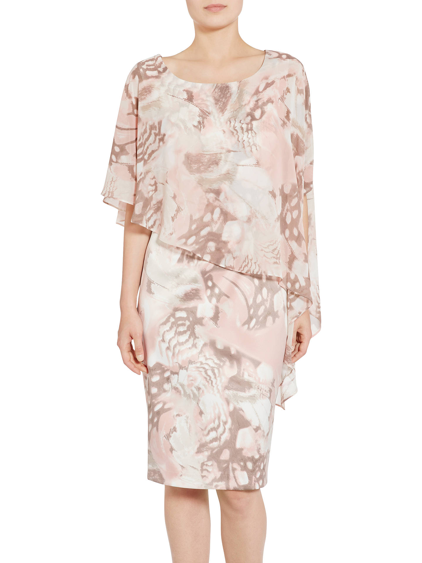BuyGina Bacconi Printed Satin Dress With Chiffon Cape, Taupe/Blush, 10 Online at johnlewis.com